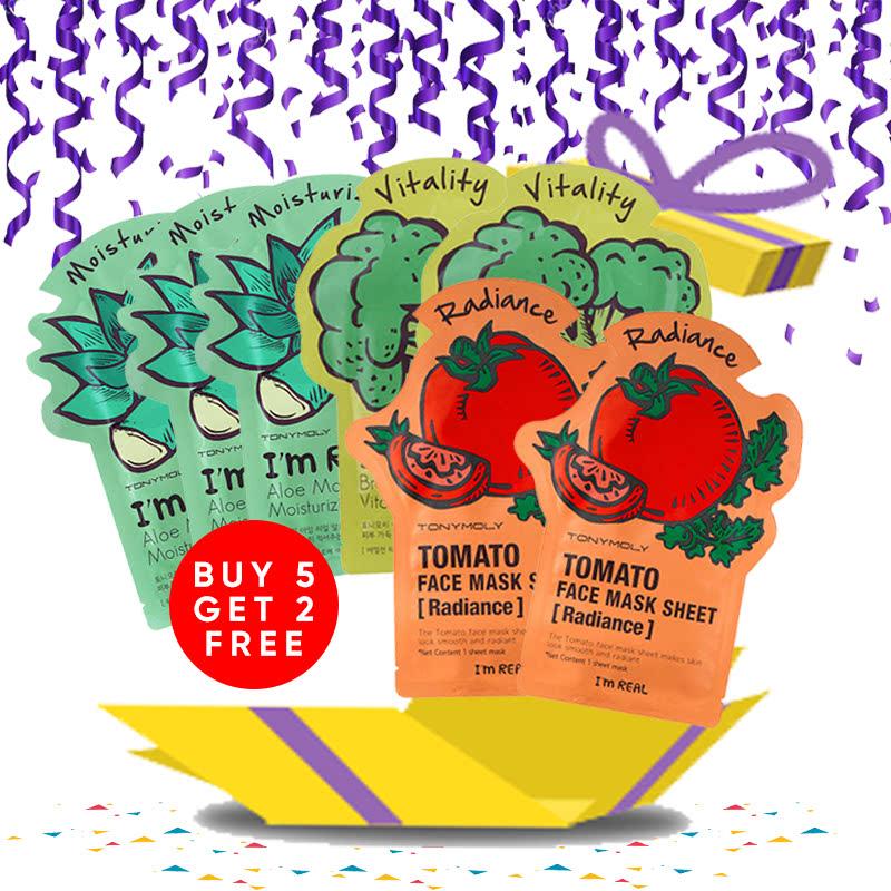 Tony Moly Bundle 3pcs Aloe Mask Sheet Moisturizing + 2pcs Brokolli Mask Sheet Vitality + 2pcs Tomato Mask Sheet Skin Glow