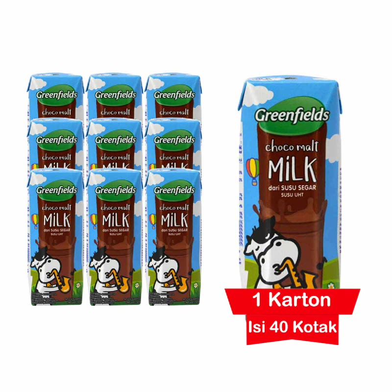 Greenfields Susu UHT Choco Malt 125 Ml 1 Karton
