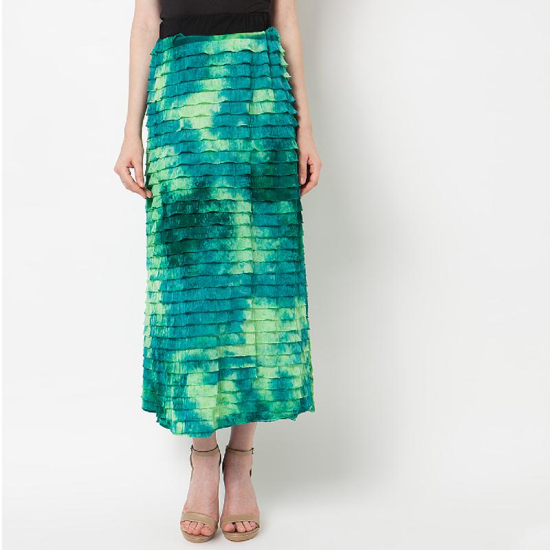 Duapola Layers Cotton Long Skirt Green