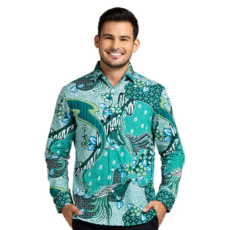 Agrapana Batik Slimfit Baju Kemeja Hem Batik Pria Cowok Lengan Panjang Modern Premium Laki Laki Bayu Green