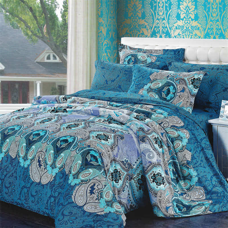 Sleep Buddy Set Sprei dan bed cover Classic Blue Cotton Sateen 160x200x30