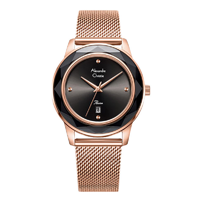 Alexandre Christie Passion AC 2908 LDBRGBA Ladies Black Dial Rose Gold Mesh Stainless Steel Strap
