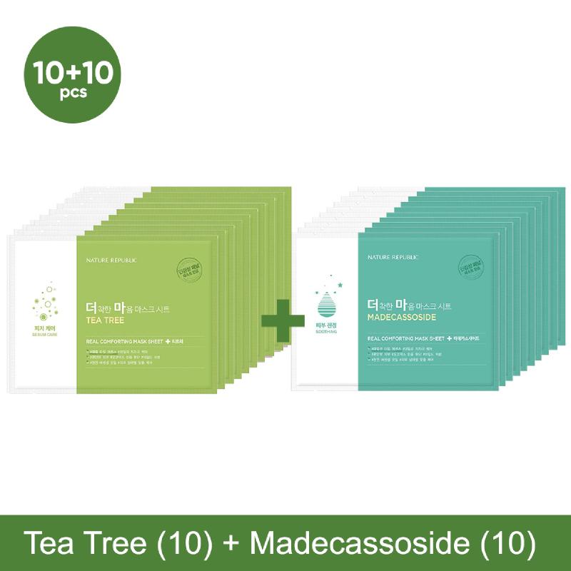 Nature Republic Real Comforting Mask - Tea Tree 10pcs + Madecassoside 10pcs