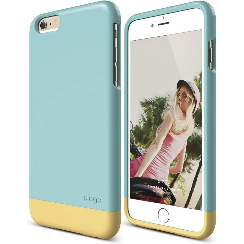 Elago Glide Case for iPhone 6 Plus - UV Coral Blue + SG Creamy Yellow