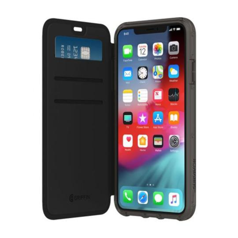 Griffin Survivor Clear Wallet for iPhone Xs Max - Black and Clear (GIP-018-BKC)