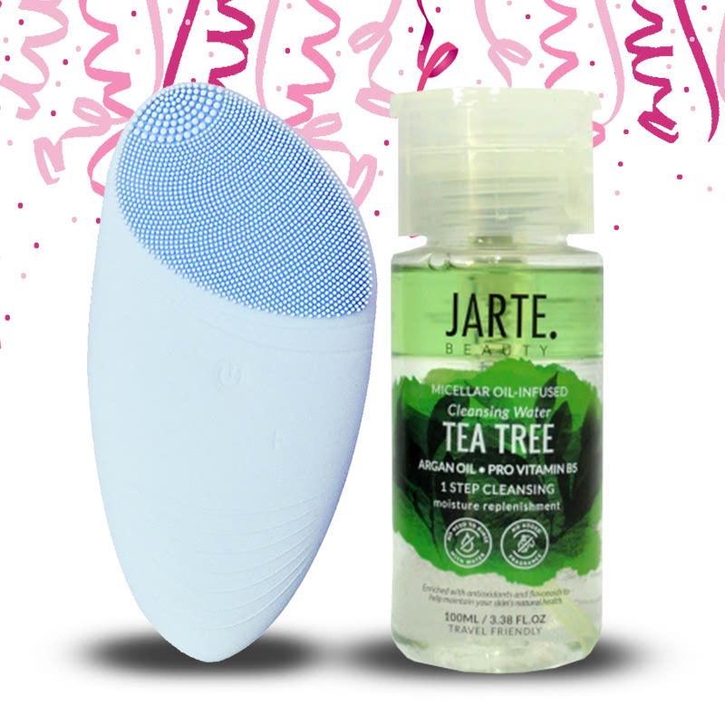 Jarte Beauty Facial Cleansing Brush Baby Blue + Micellar Water Infused Cleansing Water Tea Tree