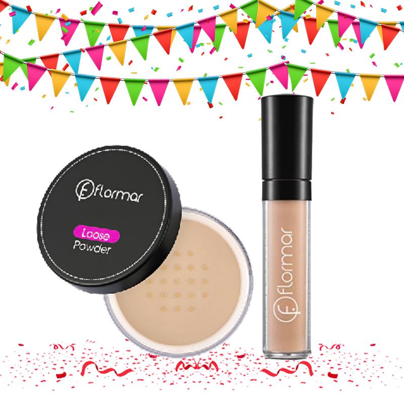 Flormar Loose Powder 003 Medium Sand + Perfect Cover Liquid Concealer 03 Light Beige
