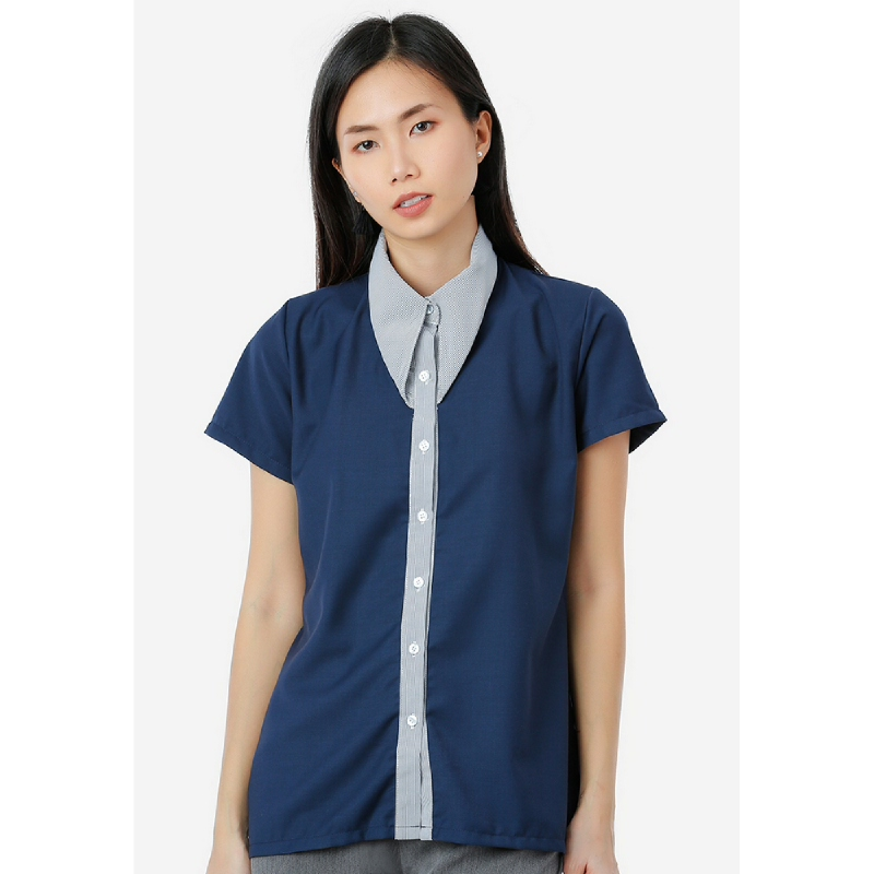 Lovadova Curl Collar Shirt  Blue