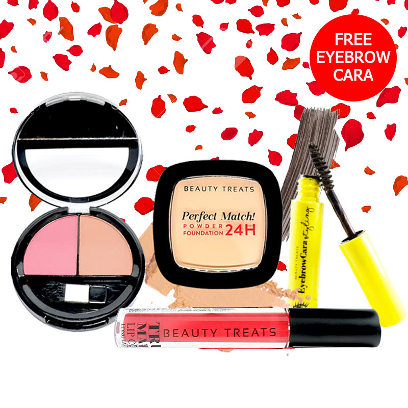 Beauty Treats Make Up Set A (Perfect Match Powder Foundation 24H No. 3 + True Matte Lip Color No. 9 + Duo Blush No. 2) FREE Eyebrowcara Dark Grey Brown