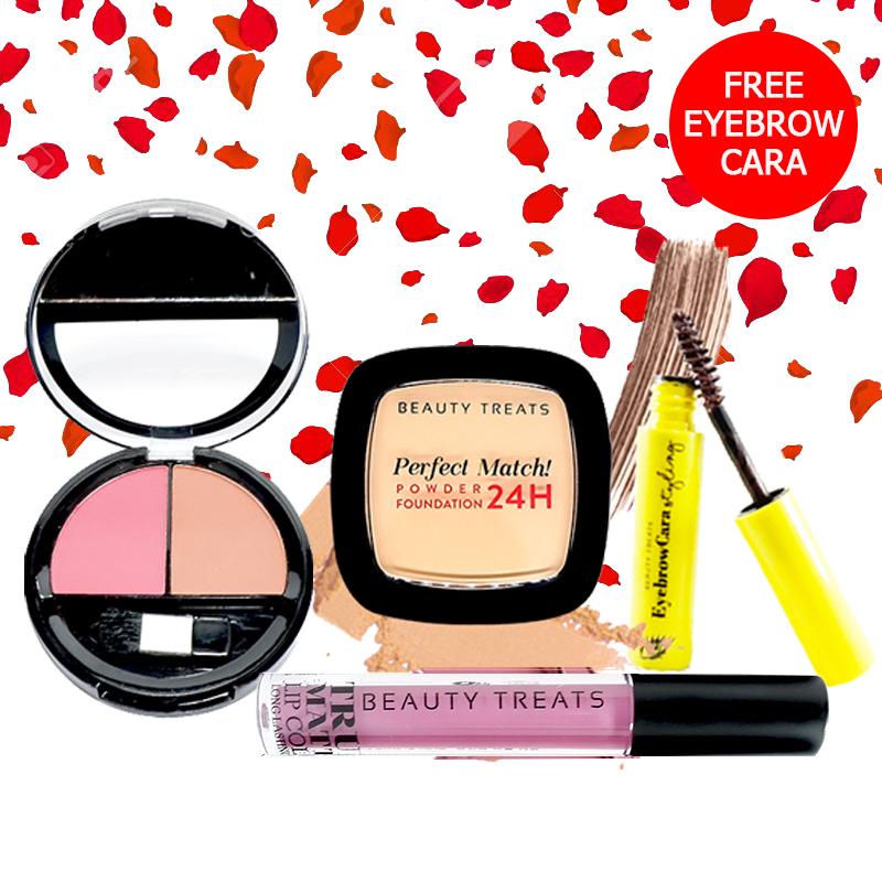 Beauty Treats Make Up Set A (Perfect Match Powder Foundation 24H No. 3 + True Matte Lip Color No. 3 + Duo Blush No. 2) FREE Eyebrowcara Dark Brown