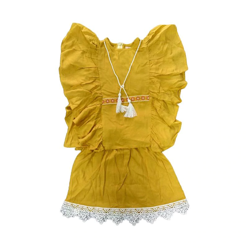 Tiny Button Setelan Baju dan Rok Anak Perempuan - Kuning