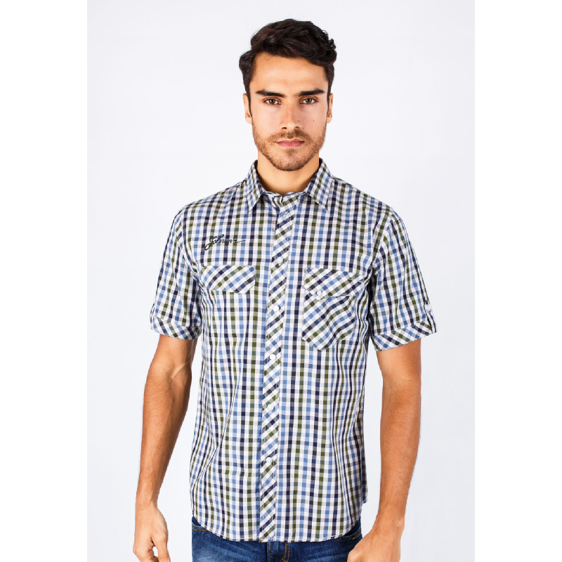 Slim Fit Casual Active Blue&Green&Black Gingham