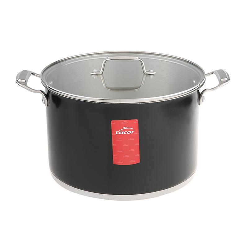 Black Stockpot 28 cm with Glass Lid