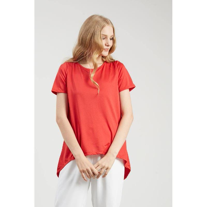 FO Short Sleeve Slit Blouse Red
