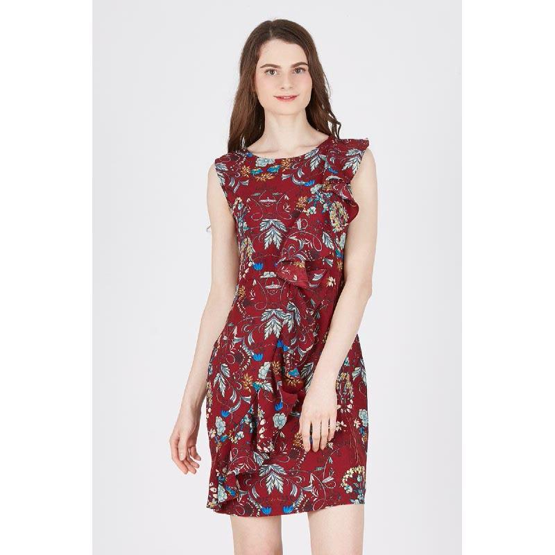 Moriah Frill Dress Red