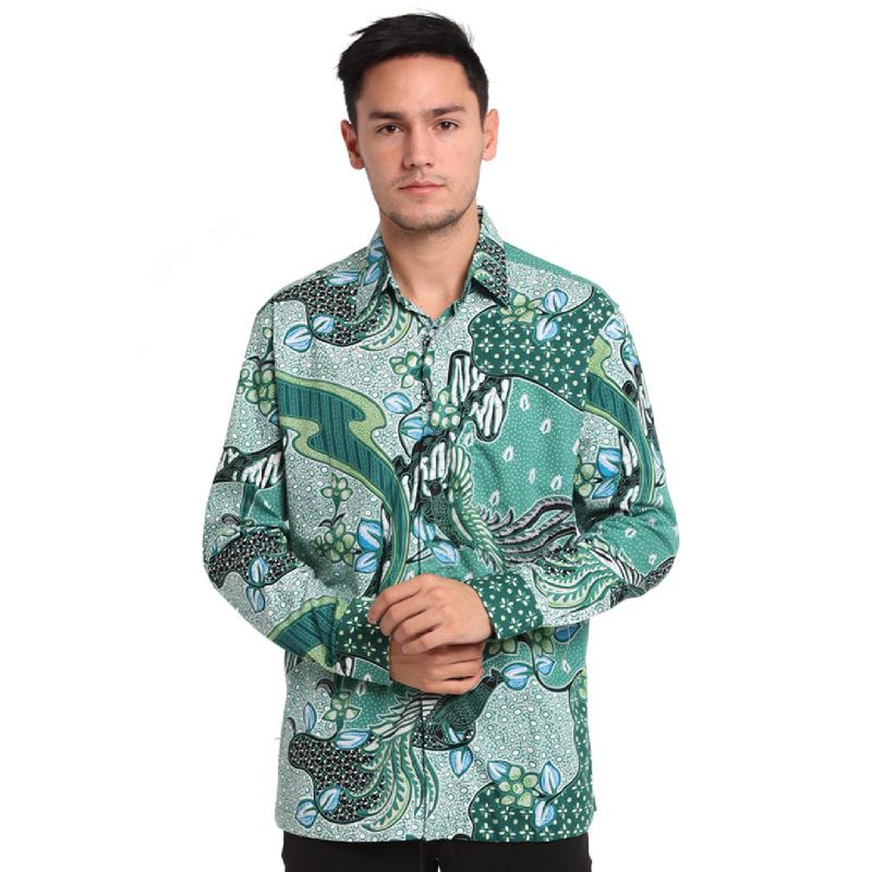 Agrapana Baju Kemeja Batik Pria Cowok Lengan Panjang Modern Premium Couple Original Pekalongan Bayu Green