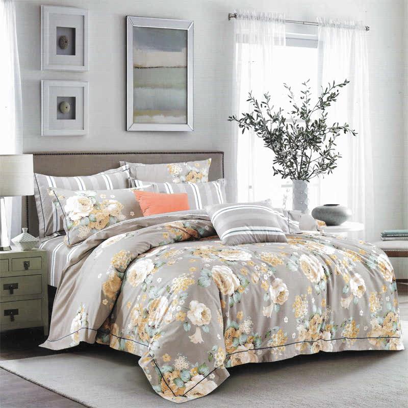 Sleep Buddy Set Sprei dan bed cover Grey Flower Cotton Sateen 160x200x30