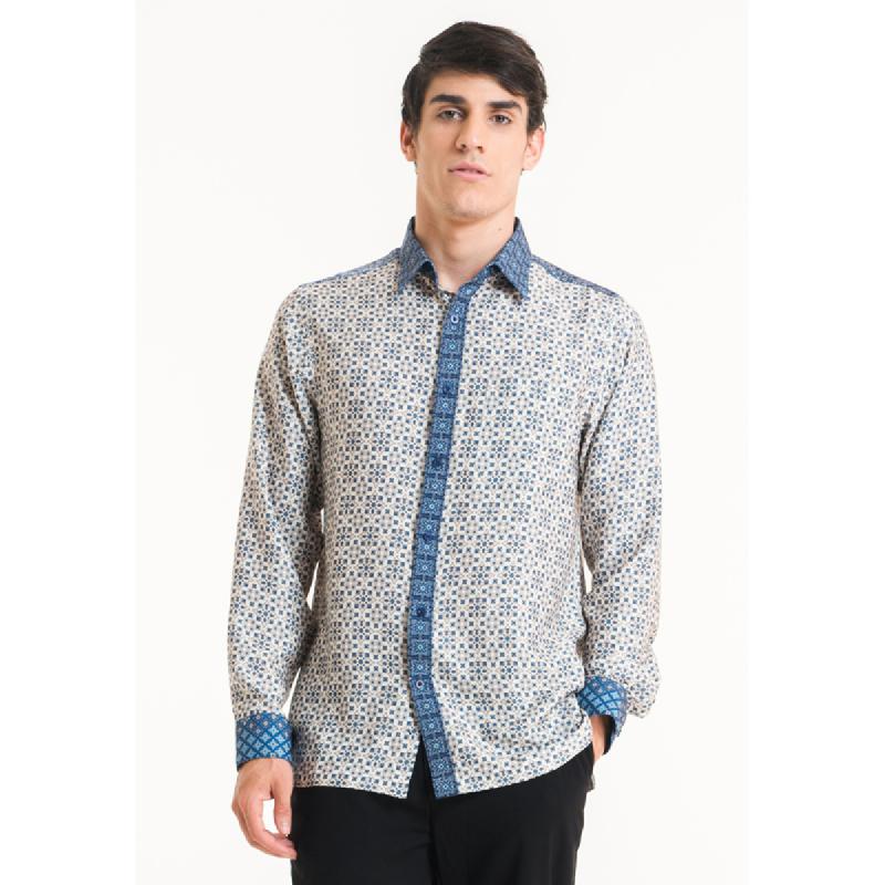Bateeq Men Long Sleeve Cotton Print Shirt FM003B-SS18 Cream