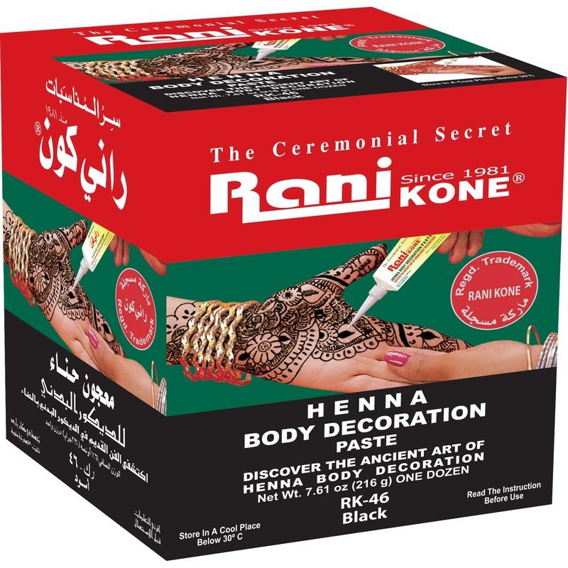 Rani Kone 46 Body Decoration Paste Gold Henna Black 216g