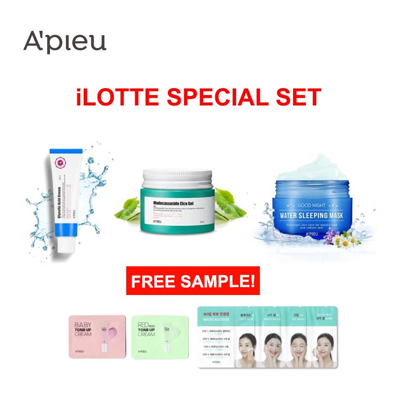 Apieu Glycolic Acid Cream+Madecassoside Cica Gel+Water Sleeping Mask Set (Free Sample)