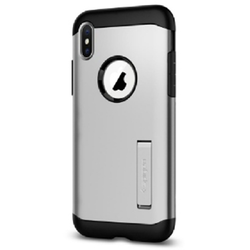 Spigen iPhone X Case Slim Amor - Sattin Silver