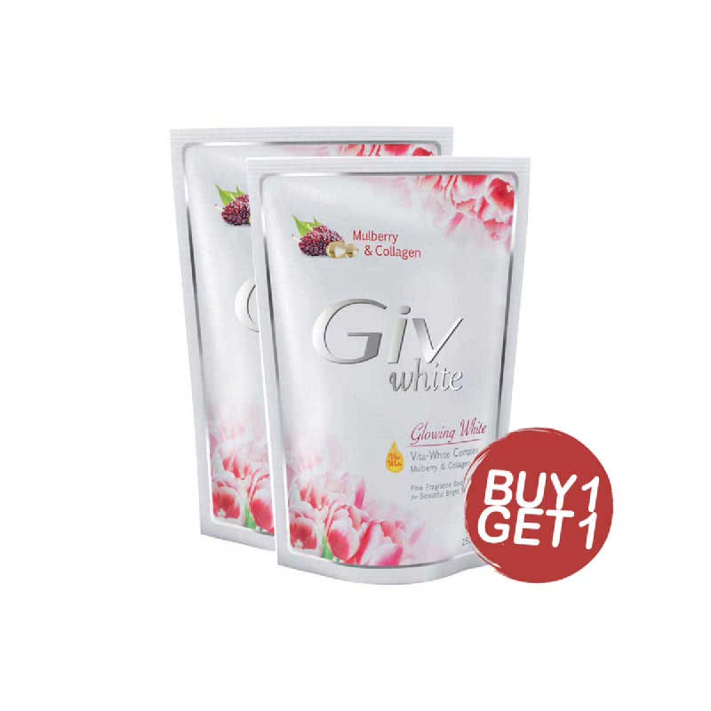 Giv Sabun Mandi Glowing White Mulberry Pouch 250 Ml (Buy 1 Get 1)