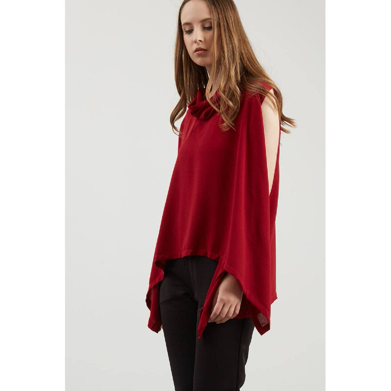 Eniel Collar Top In Maroon