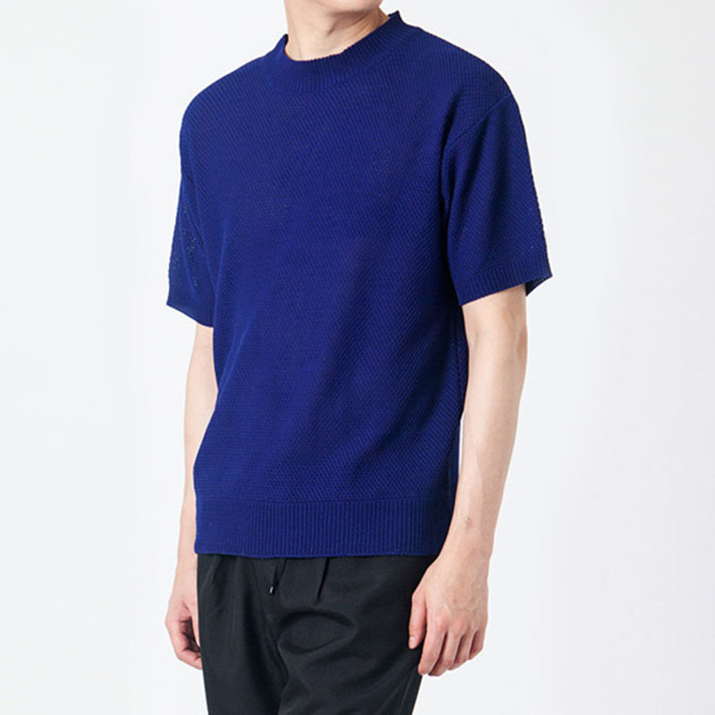 Solid Cable Short Sleeve R-Knit GK7204C - Navy