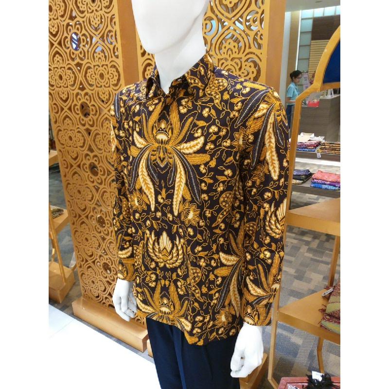 Batik Semar Pria Hem Panjang Katun Soga Emas 52 Sogan Cokelat Size XL