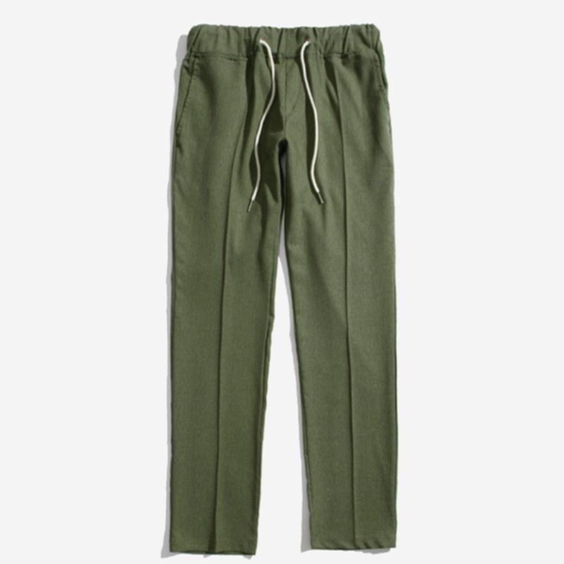 [PB.16] Linen Banding Crop Slacks KHAKI