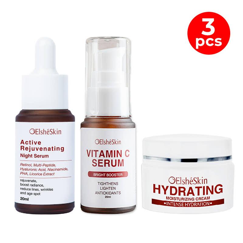 Elsheskin Active Rejuvenating Night Serum + Vitamin C Serum + Hydrating Moisturizer Cream