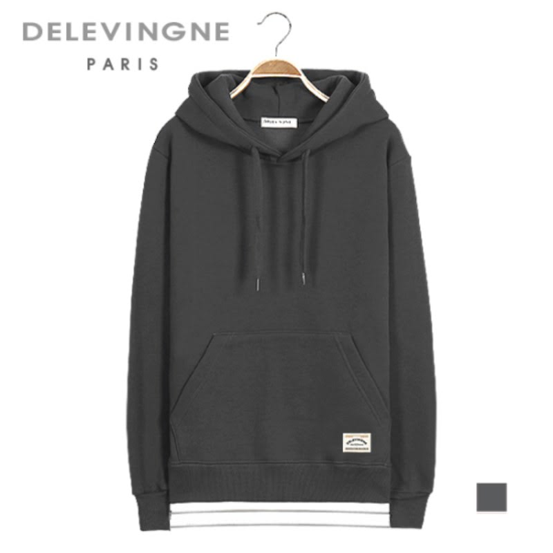 Claire Layered Dark Gray Hoodie Long Sleeve Big Size Unisex