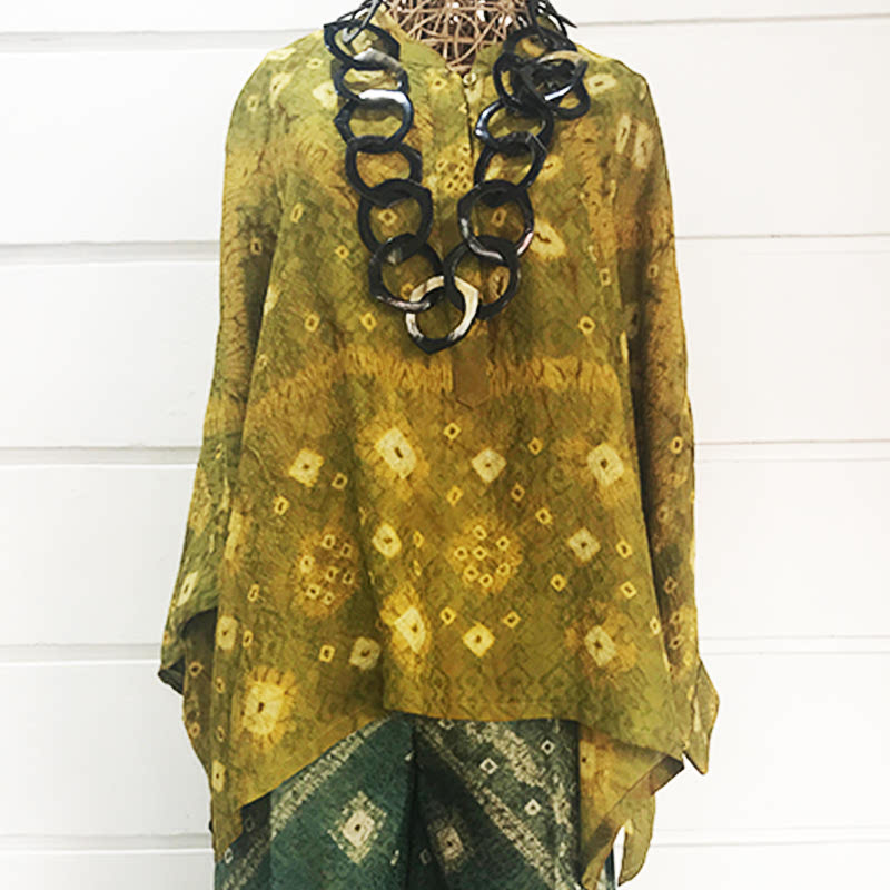 Batik Chic Blouse Manset Jumputan Lime Green