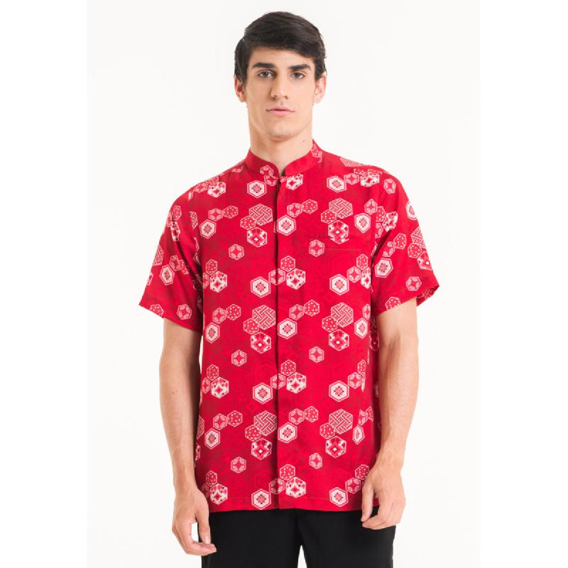 Bateeq Men Short Sleeve Cotton Print Shirt FM001A-SS18 Red