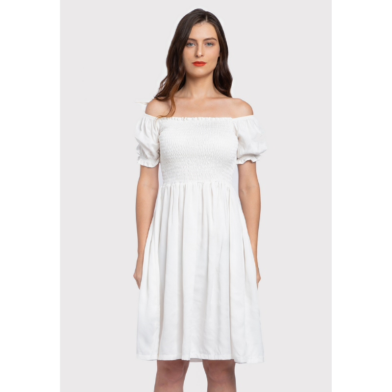 Lovadova Loone Premium Off Shoulder Dress White
