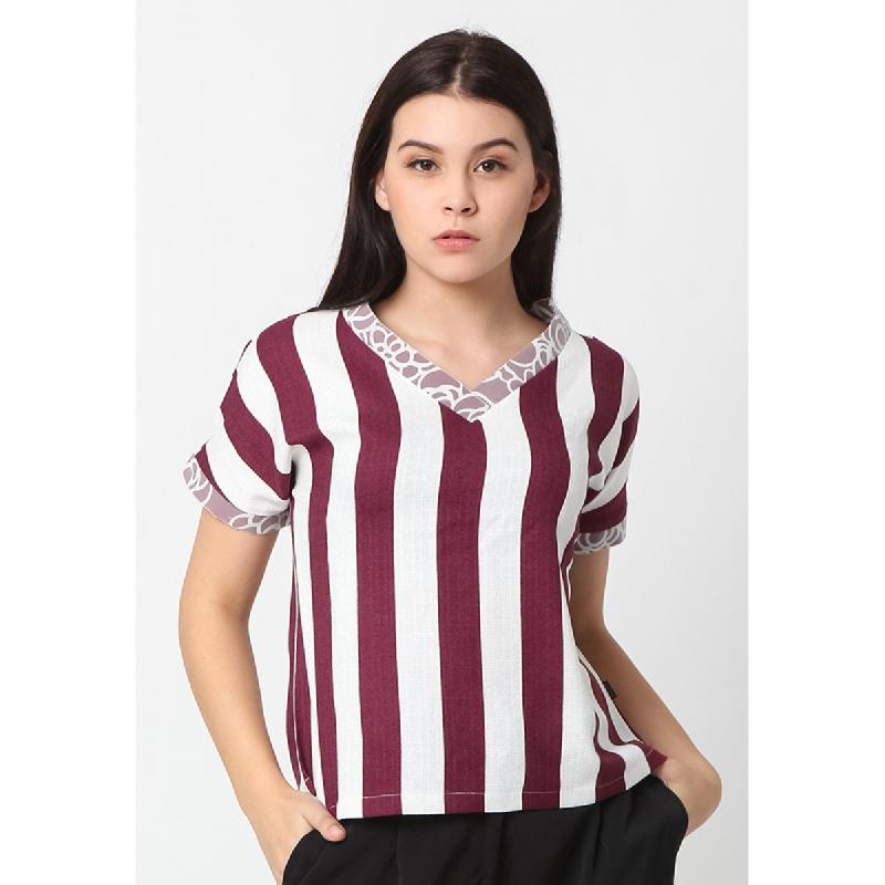 Agatha Irene V-Neck Blouse – Stripes Maroon Maroon