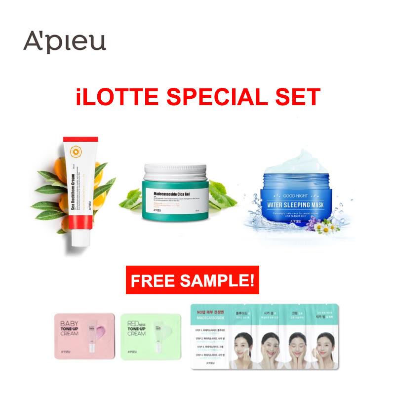 Apieu Sea Buckthorn Cream+Madecassoside Cica Gel+Water Sleeping Mask Set (Free Sample)