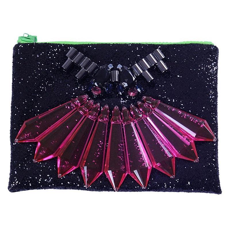 Full sequined black clutch bag