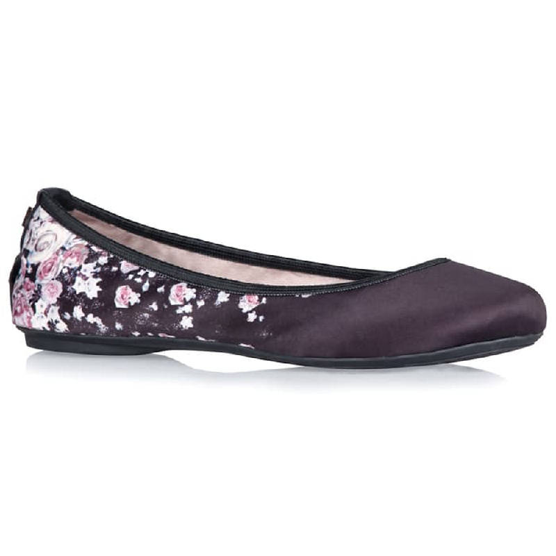 Butterfly Twist Flat Shoes Sophia Scattered Floral Black