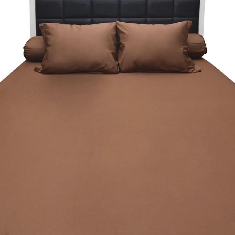 Sleep Buddy Set Sprei Coffe Plain Cotton Sateen 160x200x30