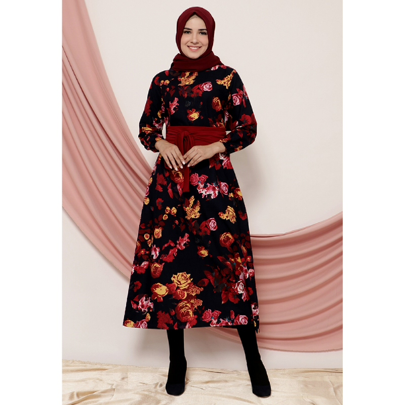 Mybamus Flower Ansa Belt Dress Maroon M14787 R41S4