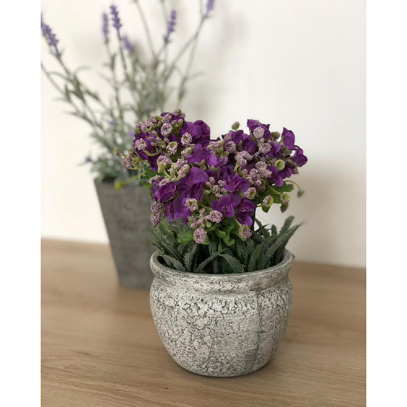 Asna Purple Artificial Flowers with Pot