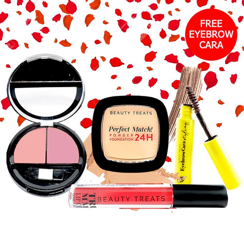 Beauty Treats Make Up Set A (Perfect Match Powder Foundation 24H No. 3 + True Matte Lip Color No. 9 + Duo Blush No. 3) FREE Eyebrowcara Dark Brown