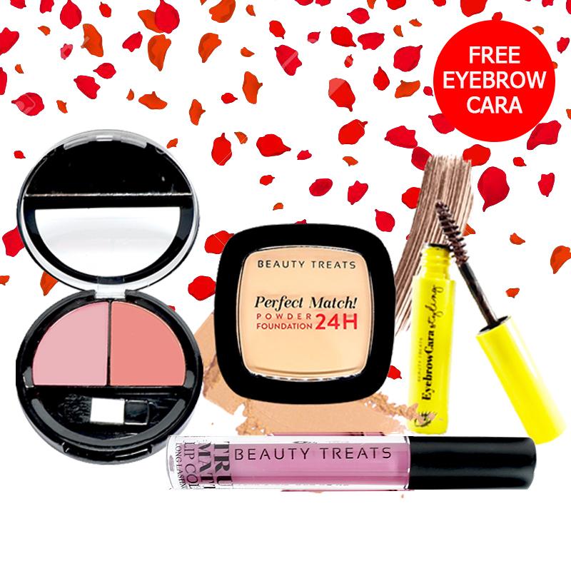 Beauty Treats Make Up Set A (Perfect Match Powder Foundation 24H No. 3 + True Matte Lip Color No. 3 + Duo Blush No. 1) FREE Eyebrowcara Dark Brown