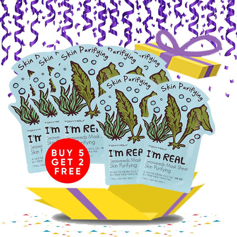 Tony Moly Bundle 5pcs I Am Real Seaweeds Mask Sheet Skin Purifying + 2pcs Seaweeds Mask Sheet Skin Purifying