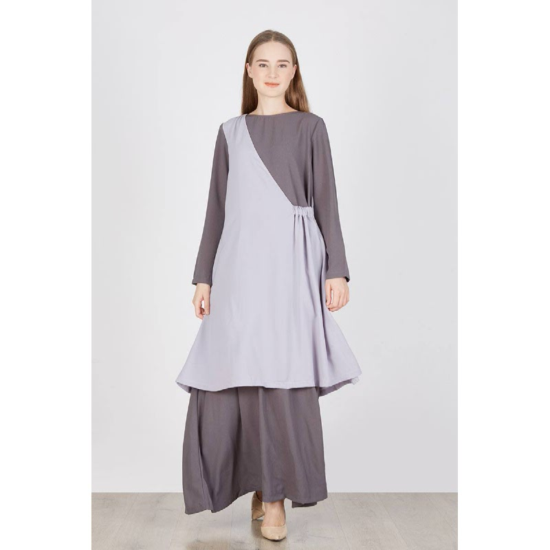 Ronia Layer Long Dress Grey