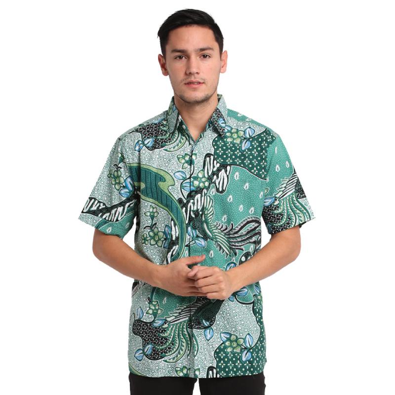Agrapana Baju Kemeja Batik Pria Cowok Lengan Pendek Modern Premium Couple Original Pekalongan Bayu Green