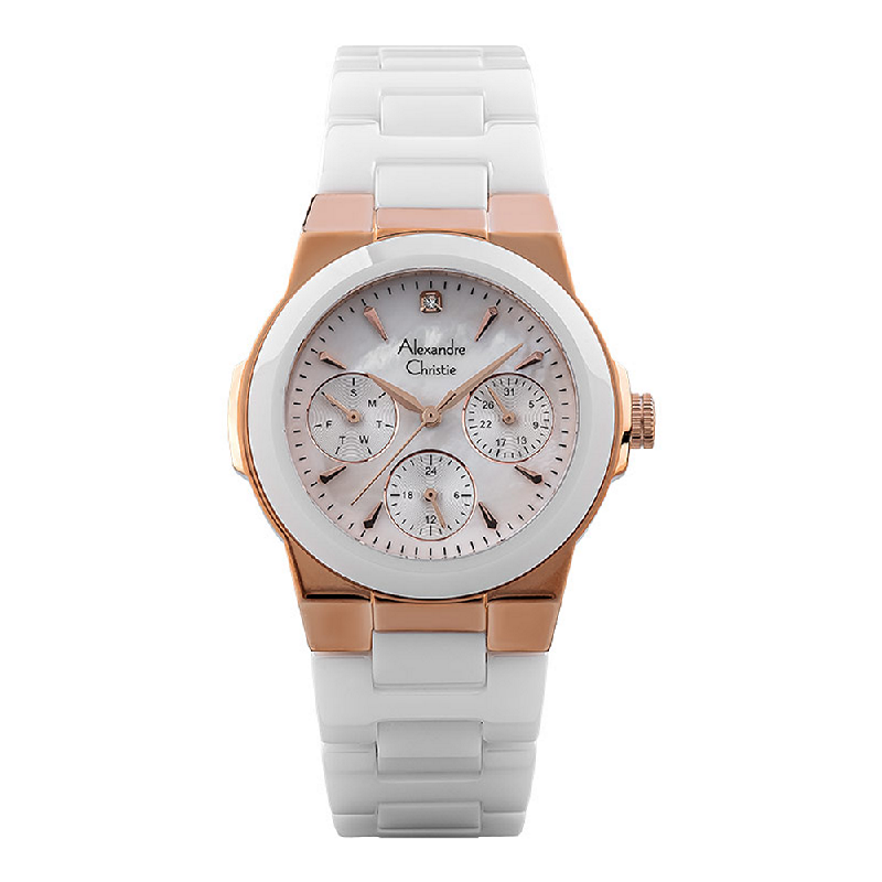 Alexandre Christie AC 2862 BF BRGMS Ladies Mother Of Pearl Dial White Acetate Strap
