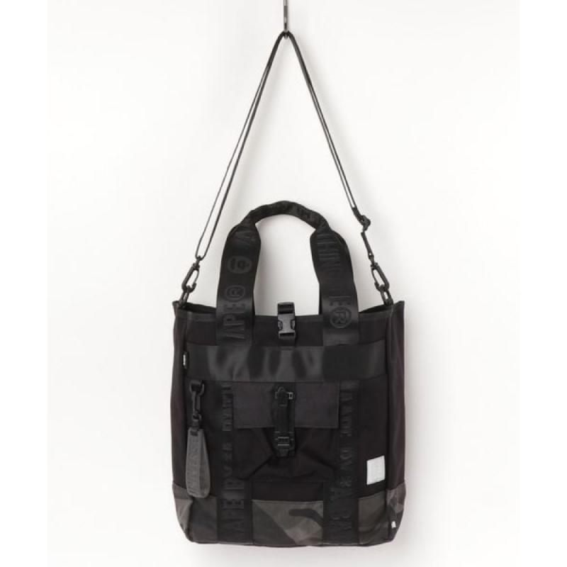 Aape Camo Messenger Tote Bag - Black