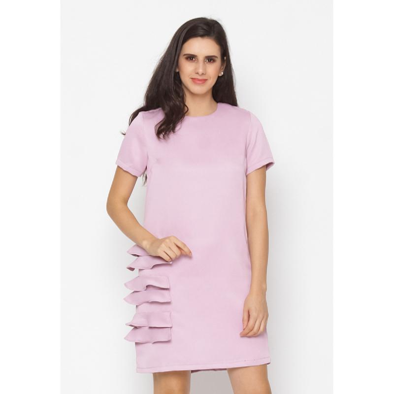 Agatha Shift Dress With Ruffle Side Pink